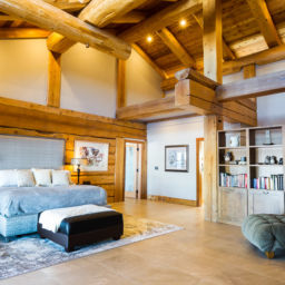 custom log home photography interior bedroom trident photography