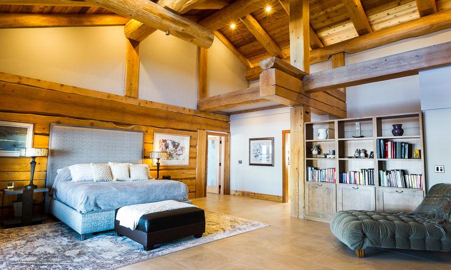custom log home photography interior bedroom trident photography