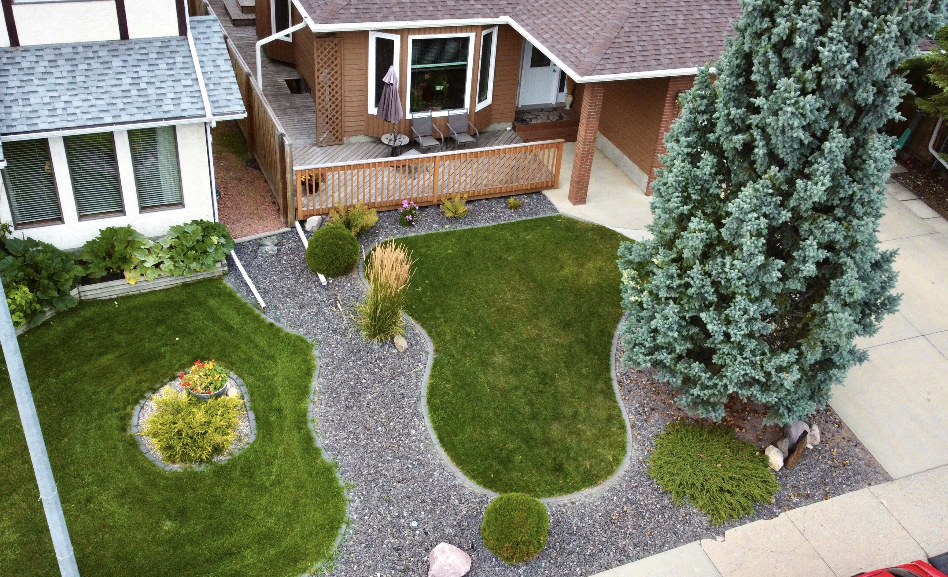 Aerial drone photography of landscaping